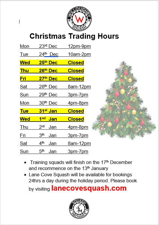 Christmas Hours Willoughby